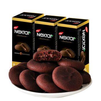 印尼进口零食丽芝士纳宝帝nextar软心趣布朗尼巧克力注心曲奇饼干【咔