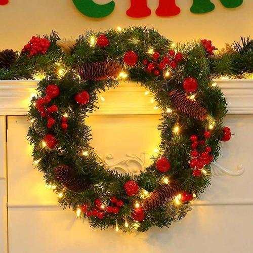 圣诞节装饰品圣诞花环圣诞用品布置挂饰圣诞节花环门