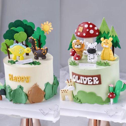 森系蛋糕装饰小动物狮子小奶牛绿色蛋糕儿童生日