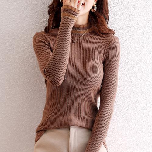 半高领毛衣打底衫女内搭洋气2020年秋冬新款蕾丝套头