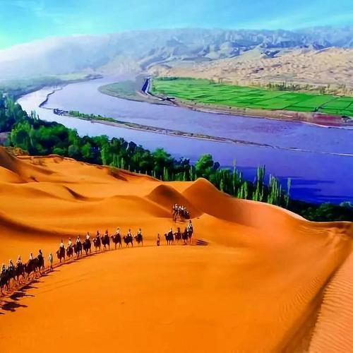 宁夏旅游沙坡头西夏王陵腾格里沙漠贺兰山岩画影视城