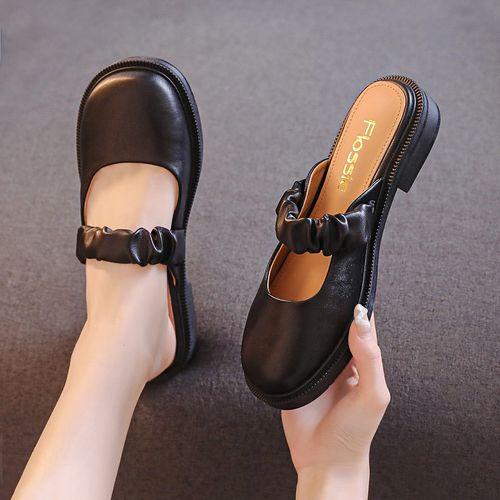 【jk制服鞋】女单鞋圆头粗跟懒人一脚蹬玛丽珍鞋时尚