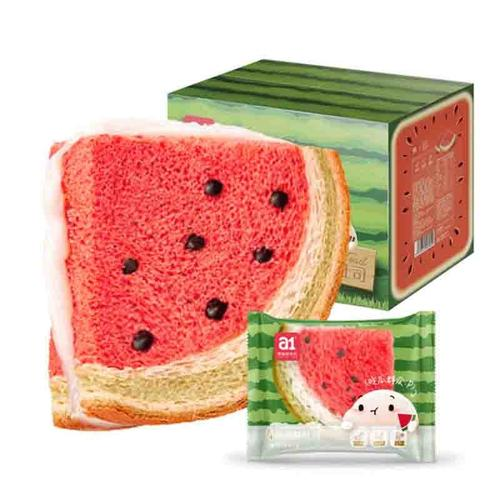 a1西瓜吐司480g整箱网红懒人早餐面包休闲零食点心食品巧克力蛋糕(含