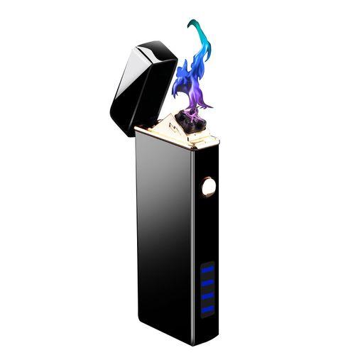 商务黑冰科技面带照明灯双电弧充电打火机弯头点雪茄