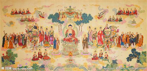 极乐世界结缘佛像挂画卷轴绢丝挂画菩萨画像278佛教
