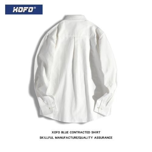 xofo秋冬款复古港风日系白色衬衫男休闲宽松长袖衬衣