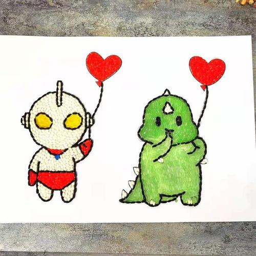 情侣头像奥特曼与小怪兽推心