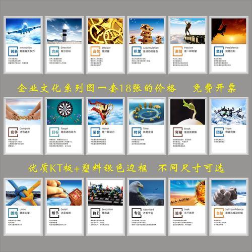 企业文化图系列全套18张公司励志团建上墙走廊展板