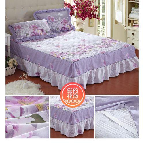 夹棉纯棉单件三件套床罩床裙式全棉加厚保护床单床套防尘1.5米1.8