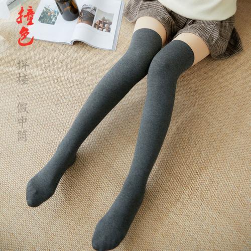 假两件拼接打底裤堆堆袜丢丢袜光腿女神器秋冬肉色薄