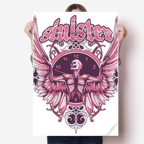 涂鸦街头粉骷髅翅膀钟表海报贴纸80x55cm墙贴纸卧室