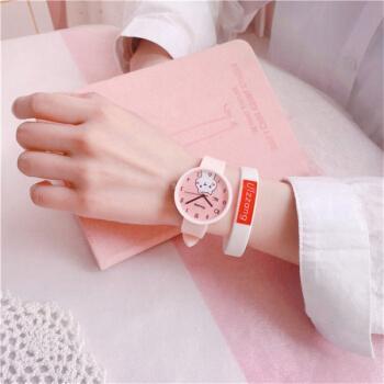 果冻硅胶带可爱猫:粉带 单手表(收藏送电池)
