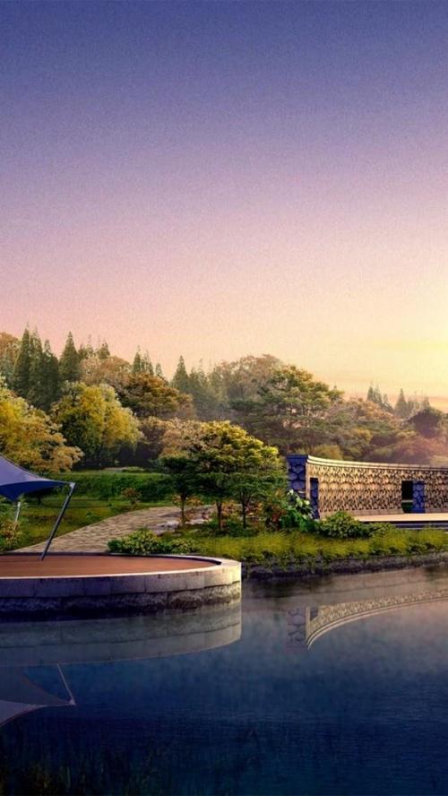日本湖景色锁屏图片高清手机壁纸风景回车桌面