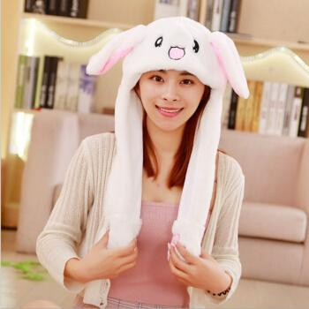 向阳而生蒋欣熊顿同款帽子兔耳朵帽女冬可爱一捏耳朵会动的兔子帽