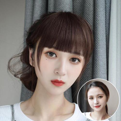 齐刘海剃两边发型女生