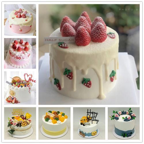 2021新款草莓水果蛋糕火龙果芒果奶油蝴蝶饼干裱花